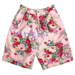Vintage Pink Floral Pattern High Waisted Short M